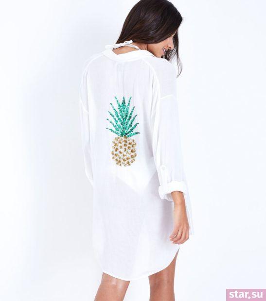туника с принтом ананас