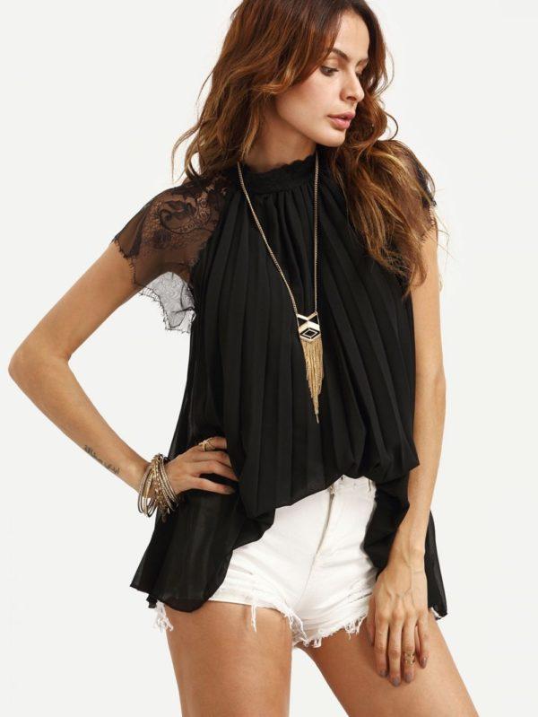 шифоновая блузка: Жатая черная
