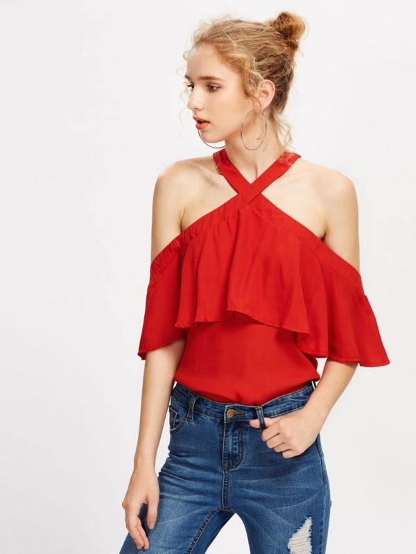 шифоновая блузка: с воланами красная