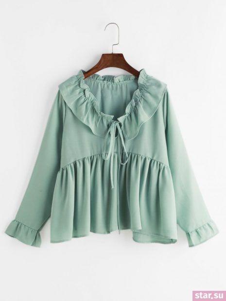 Модные шифоновые блузки с баской