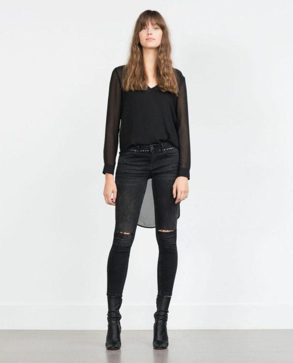 шифоновая блузка: черная