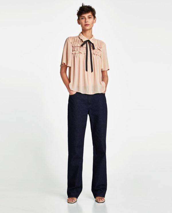 Модная блузка из шифона 2019-2020 года: бежевая