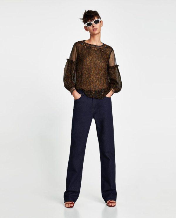 Модные блузки из шифона 2019-2020 года: черная прозрачная