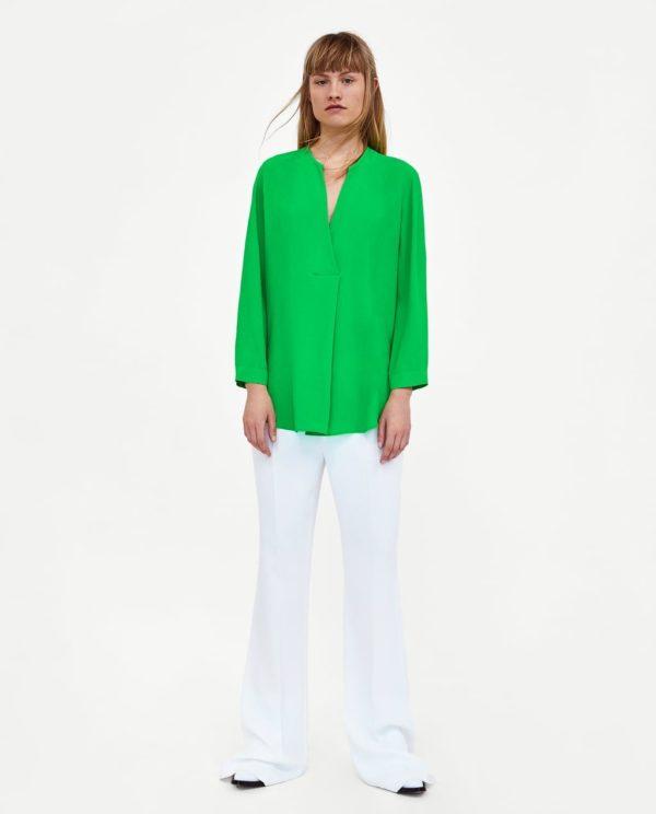 блузки из шифона 2020 года: зеленая