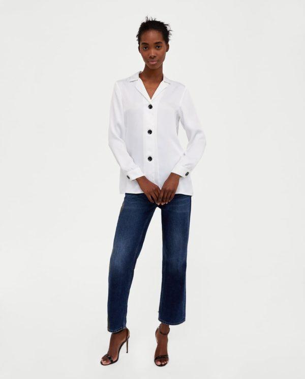 блузки из шифона: белая с черными пуговицами