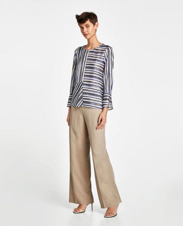 Модная блузка из шифона 2019-2020 года: в полоску