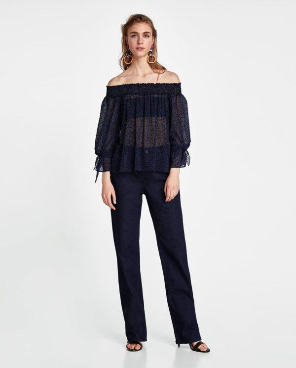 шифоновая блузка: черная открытые плечи