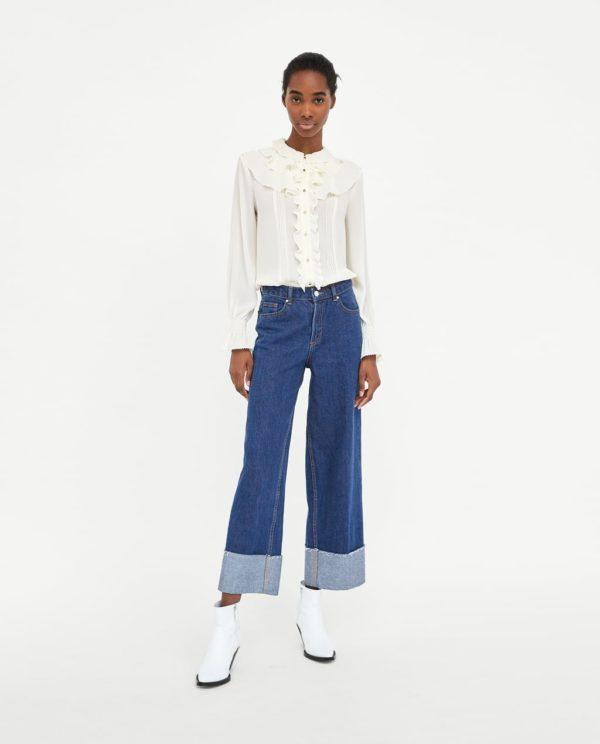 шифоновая блузка: белая с рюшами