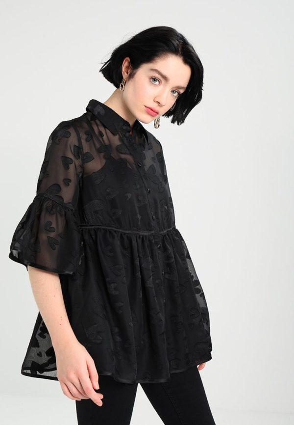 шифоновая блузка: Жатая черная короткий рукав