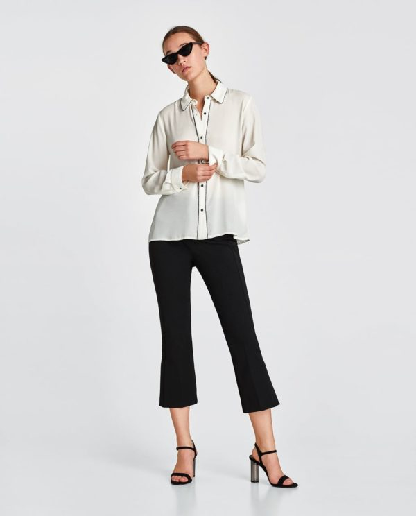 шифоновая блузка: с длинными рукавами