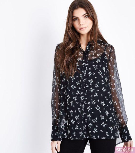 Блузка в цветочек из шифона с длинными рукавами