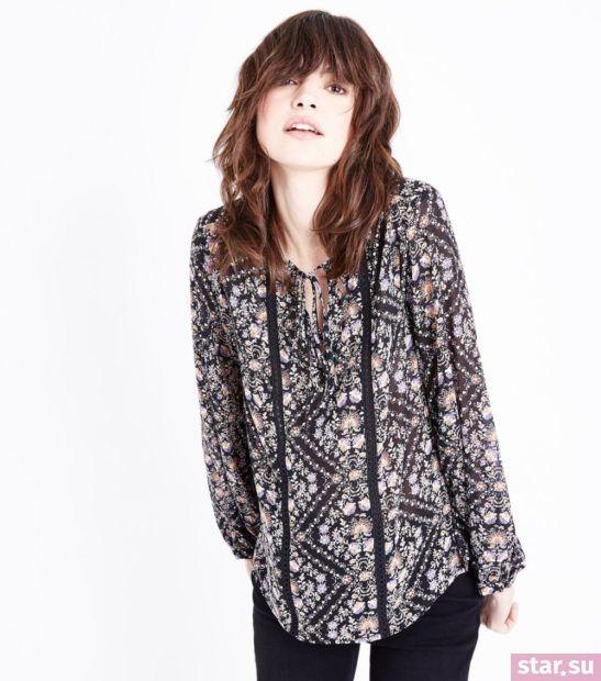 Блузка с принтом из шифона с длинными рукавами