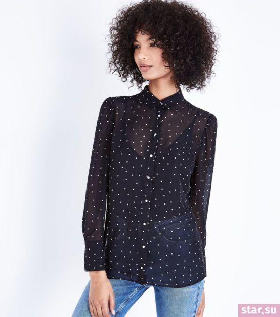 Блузка в горошек из шифона с длинными рукавами