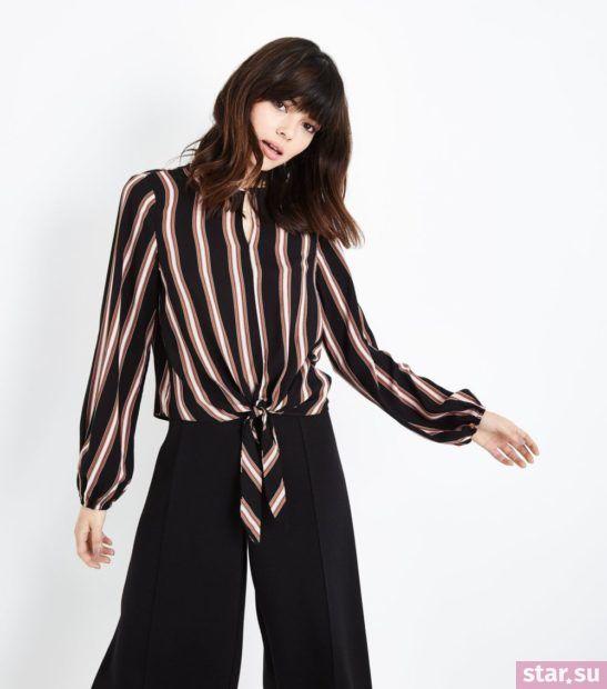 Блузка в полоску из шифона с длинными рукавами
