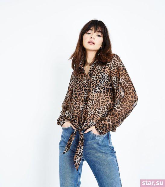 Блузка леопардовая из шифона с длинными рукавами