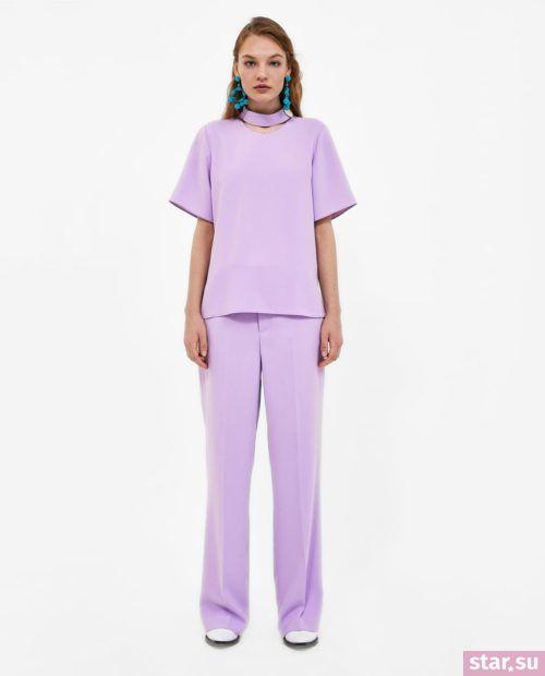 Модная блузка из шифона 2019-2020 года: фиолетовая