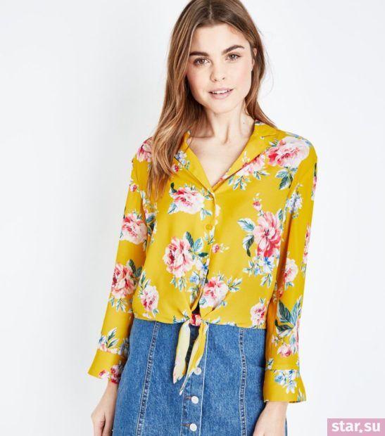 Блузка желтая из шифона с длинными рукавами