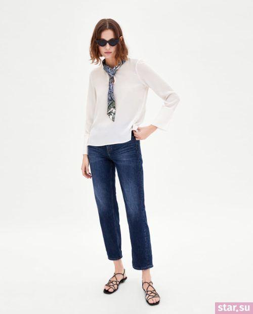 Блузка белая из шифона с длинными рукавами