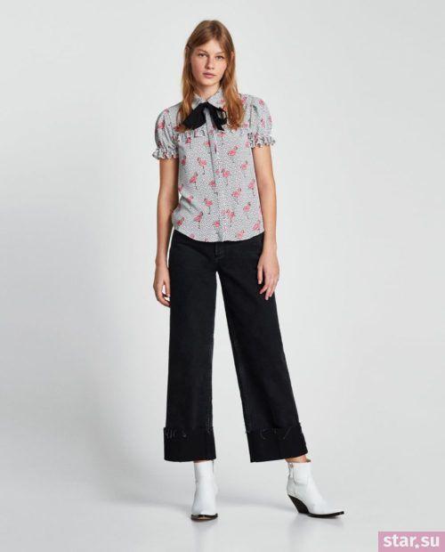 Модная серая блузка из шифона с короткими рукавами