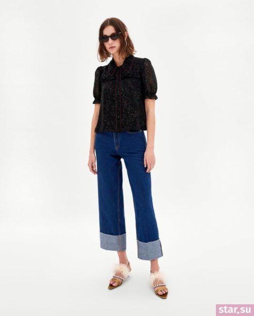 Модная черная блузка из шифона с короткими рукавами
