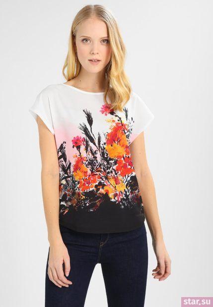 Модная блузка с принтом из шифона с короткими рукавами