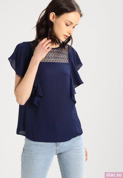 Модная синяя блузка из шифона с короткими рукавами