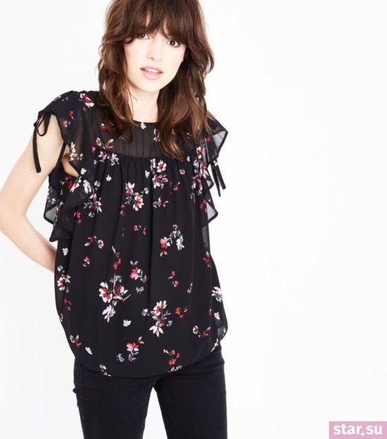 Модная блузка в цветочек из шифона с короткими рукавами