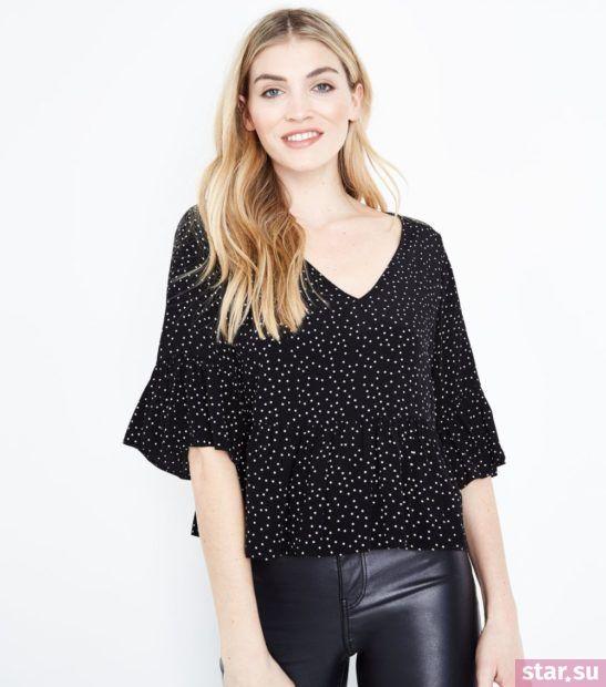 Модная блузка в точку из шифона с короткими рукавами
