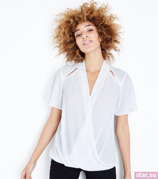 Модная белая блузка из шифона с короткими рукавами