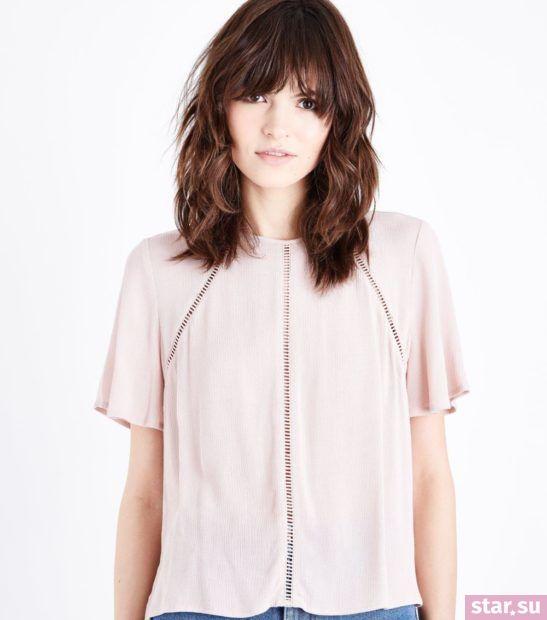 Модная бежевая блузка из шифона с короткими рукавами