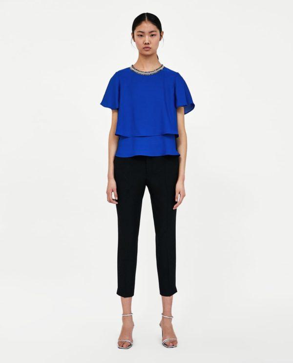 Модная блузка из шифона 2020-2021 года: синяя короткий рукав
