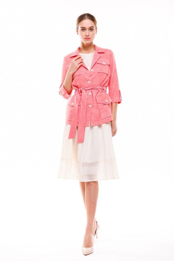 женские пиджаки: розовый под пояс