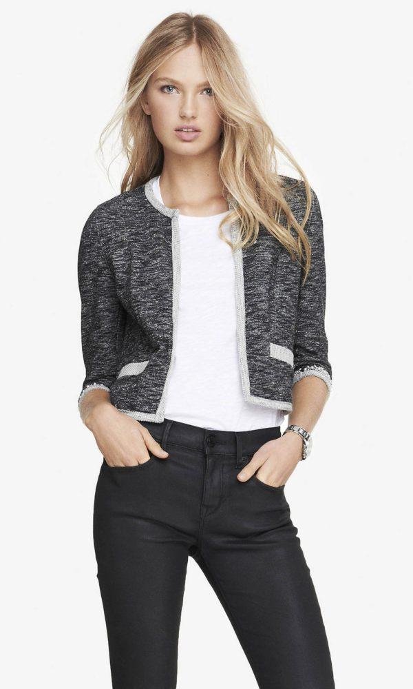 женские пиджаки: серый укороченный с карманами