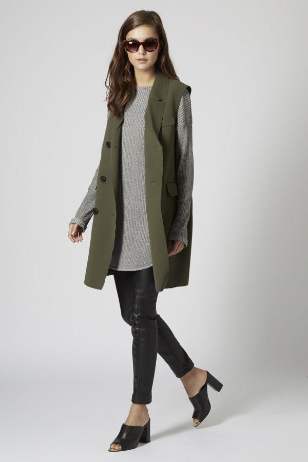 женские пиджаки: без рукавов темно-зеленый