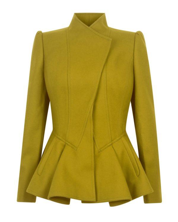 женские пиджаки: зеленый пеплум