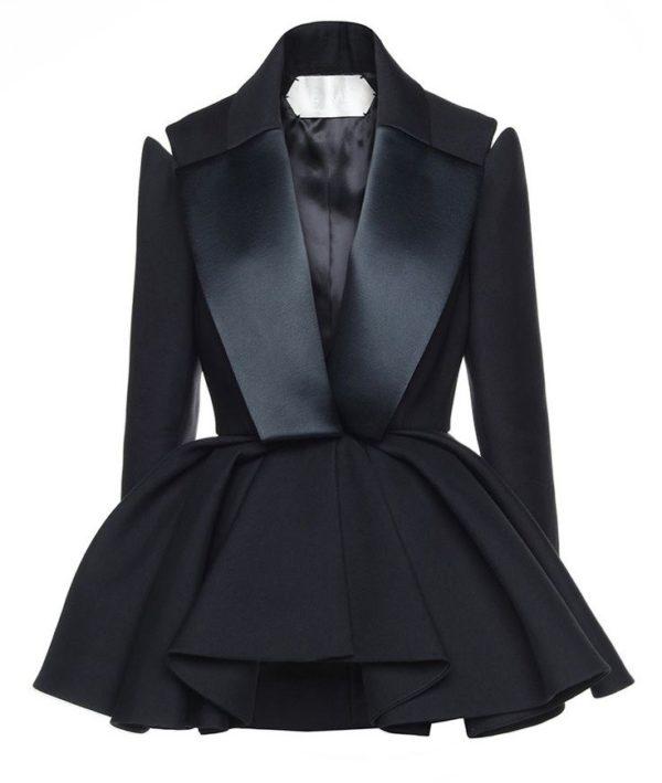 женские пиджаки: черный пеплум