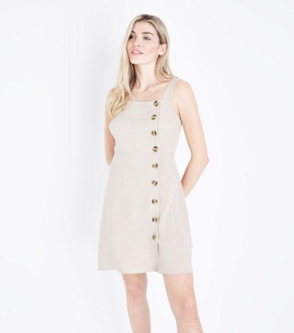 Модное бежевое платье на каждый день весна лето 2019
