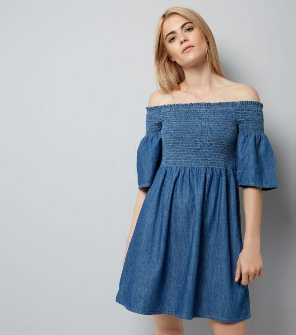 синее с открытыми плечами