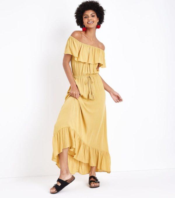 Модное желтое платье на каждый день весна лето 2019