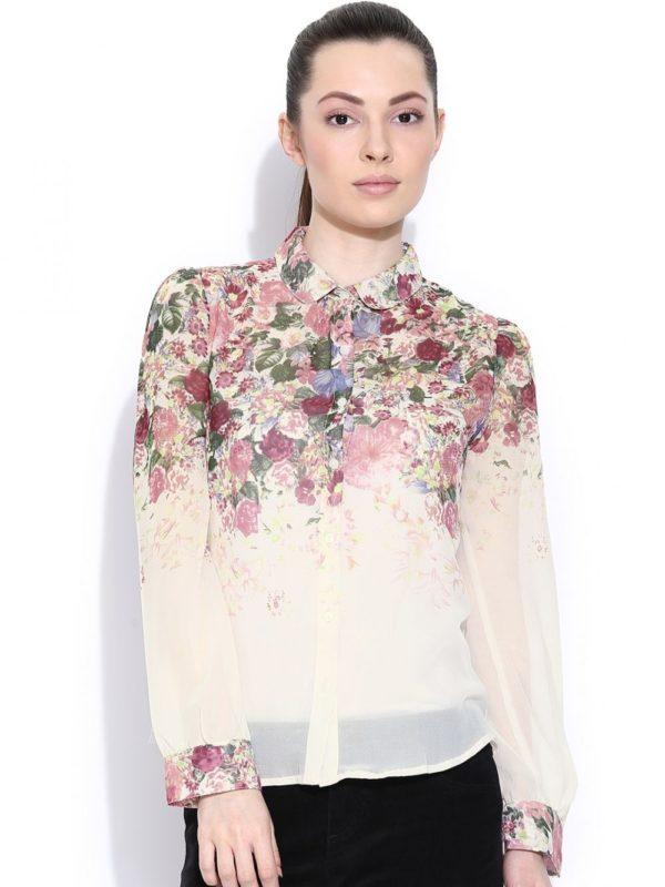 Модные женские рубашки: цветочный принт