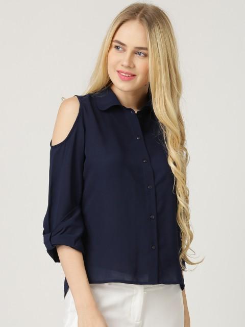Модные женские рубашки: синяя