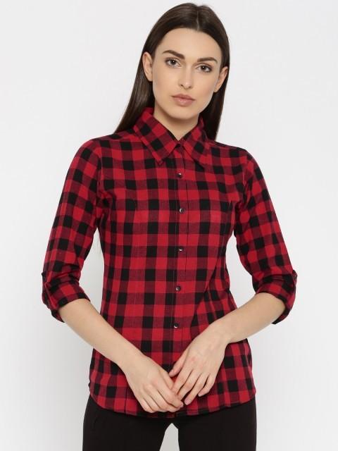 модные рубашки для женщин: красная в клетку