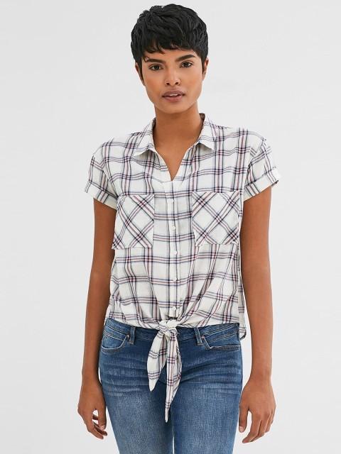 модные рубашки для женщин: белая в клетку