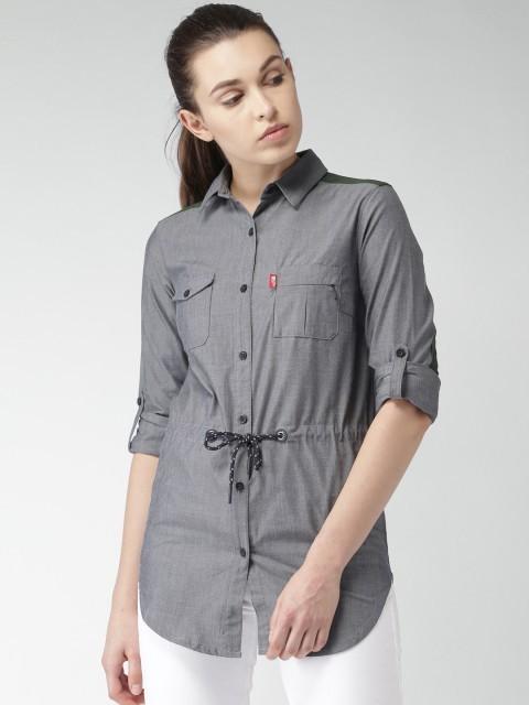 модная сорочка: Удлиненная серая