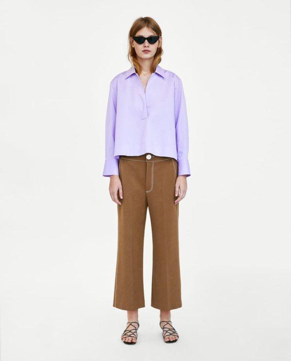 Модные женские рубашки 2018-2019: фиолетовая