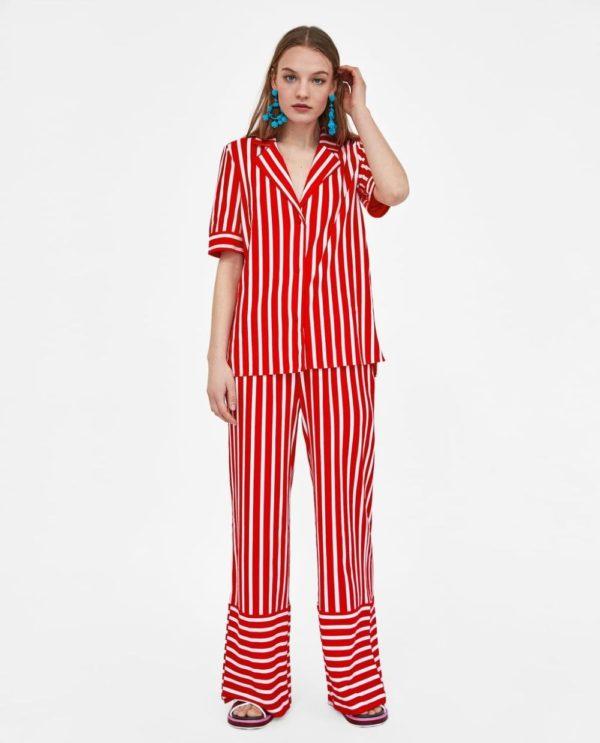 Модные женские рубашки 2018-2019: красная в полоску