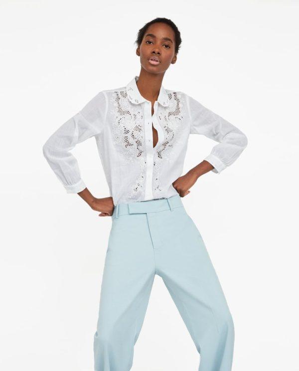 модные рубашки для женщин: белая ажурная