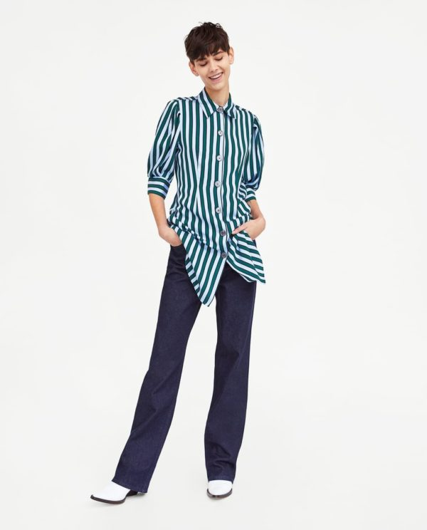 модная женская рубашка: в полоску