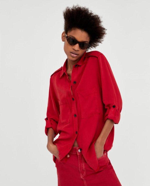 модная женская рубашка: красная
