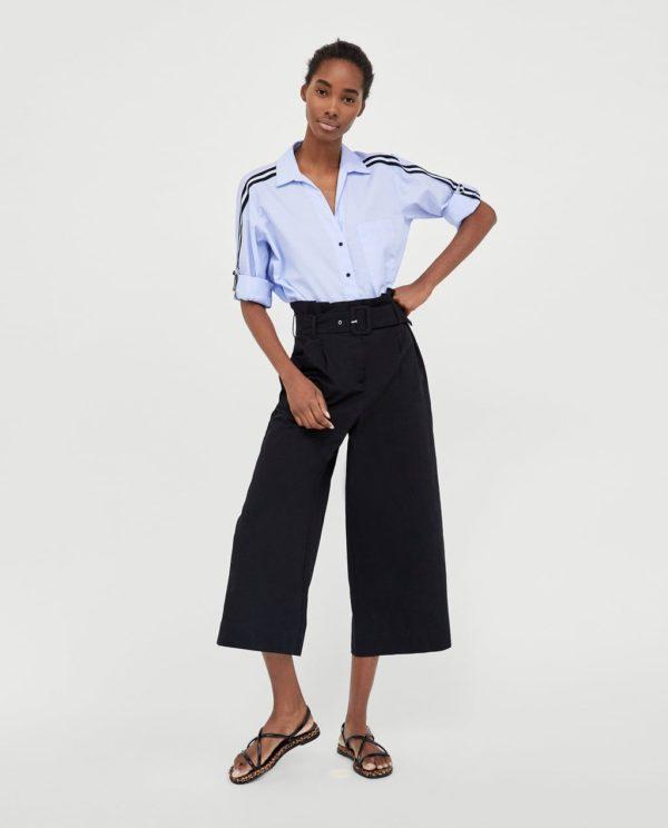 модная женская рубашка: голубая с черными полосками